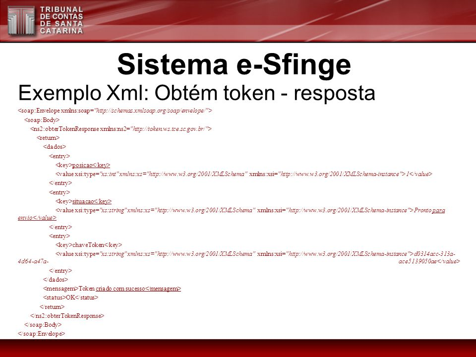 Sistema e-Sfinge Exemplo Xml: Obtém token - resposta