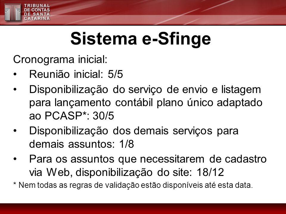 Sistema e-Sfinge Cronograma inicial: Reunião inicial: 5/5