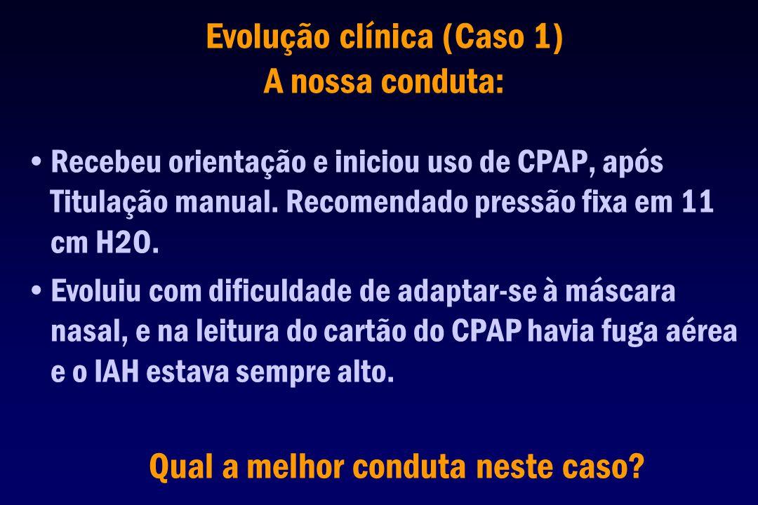 Evolução clínica (Caso 1) A nossa conduta: