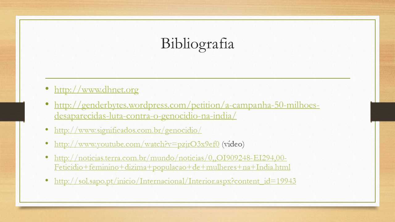 Bibliografia http://www.dhnet.org