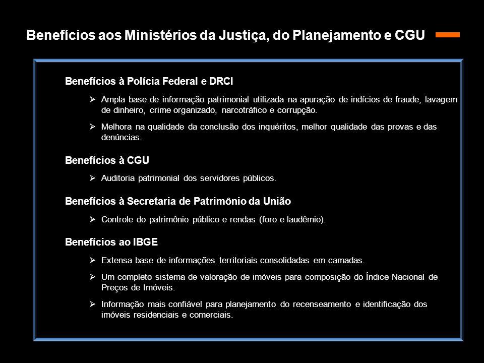 Benefícios aos Ministérios da Justiça, do Planejamento e CGU