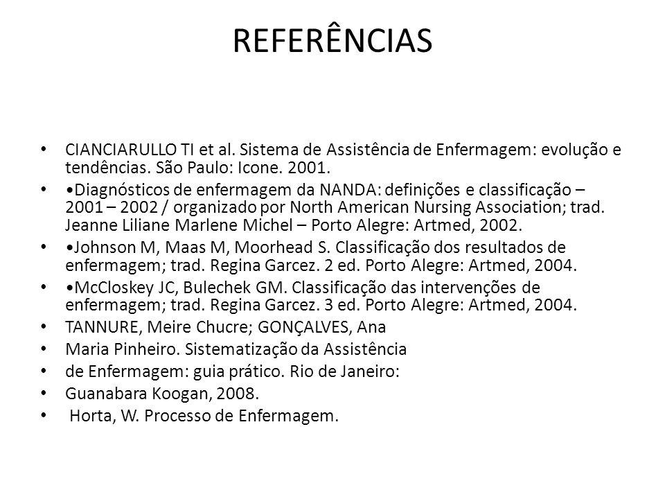 REFERÊNCIAS CIANCIARULLO TI et al. Sistema de Assistência de Enfermagem: evolução e tendências. São Paulo: Icone. 2001.