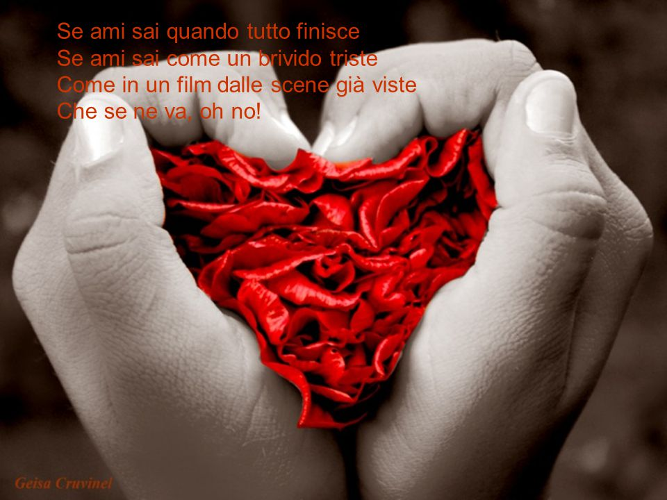 Se ami sai quando tutto finisce Se ami sai come un brivido triste Come in un film dalle scene già viste Che se ne va, oh no!