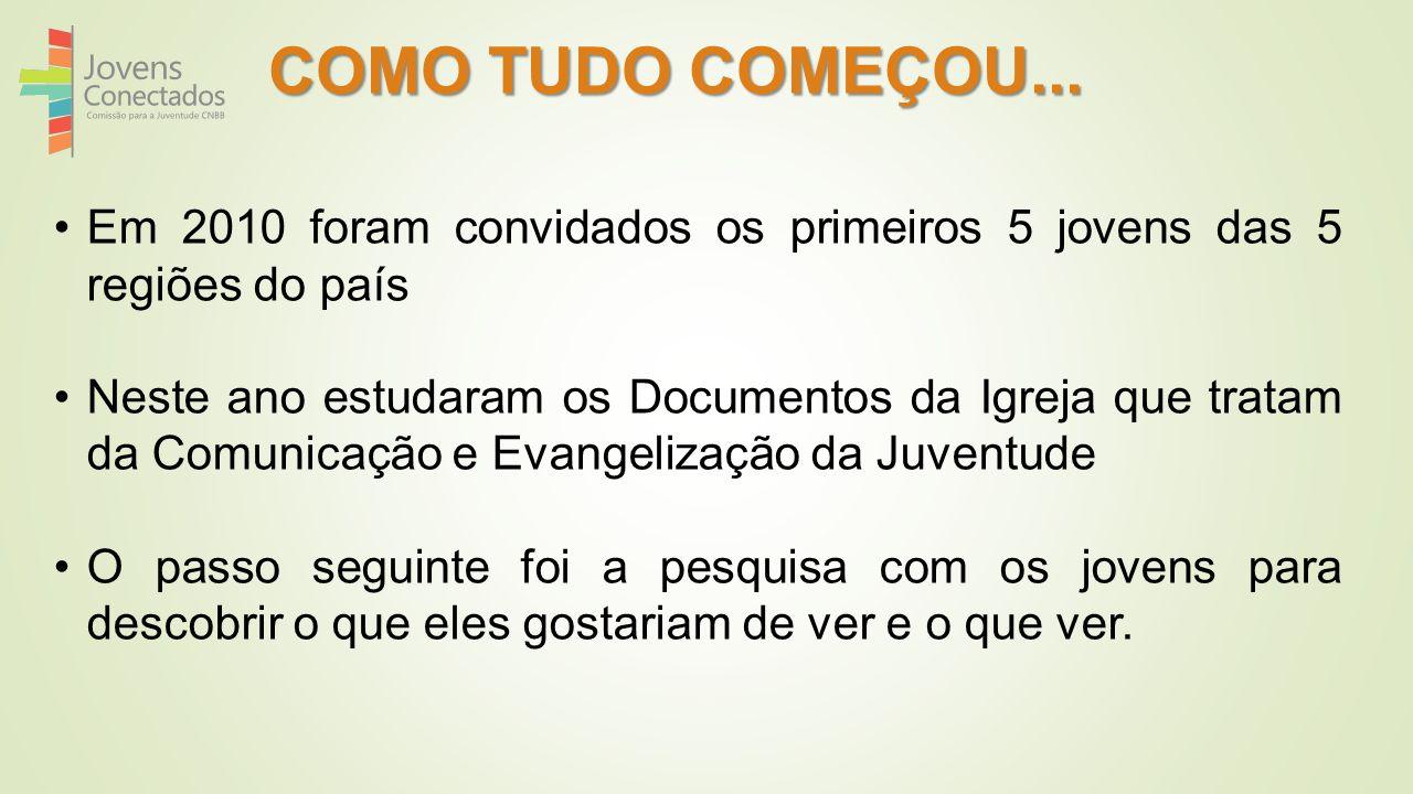 COMO TUDO COMEÇOU... Em 2010 foram convidados os primeiros 5 jovens das 5 regiões do país.