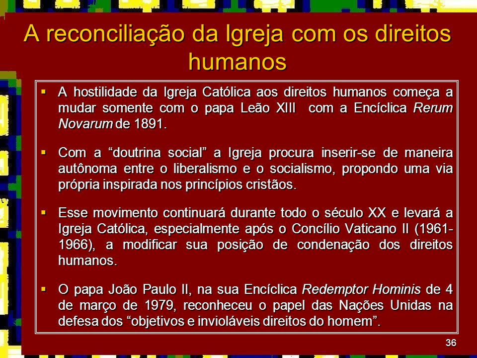 A reconciliação da Igreja com os direitos humanos