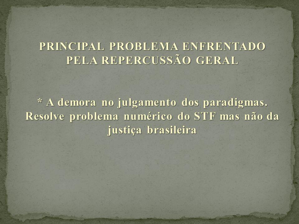 PRINCIPAL PROBLEMA ENFRENTADO PELA REPERCUSSÃO GERAL