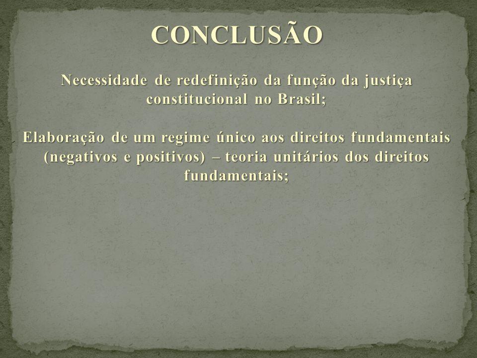 CONCLUSÃO Necessidade de redefinição da função da justiça constitucional no Brasil;
