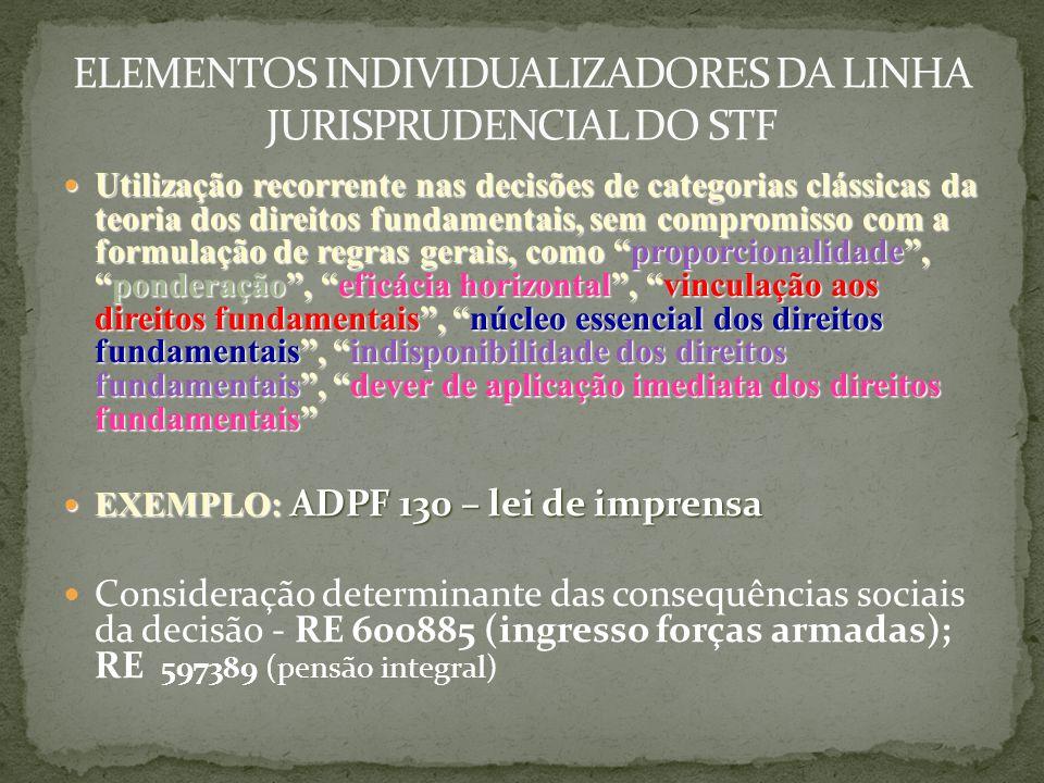 ELEMENTOS INDIVIDUALIZADORES DA LINHA JURISPRUDENCIAL DO STF