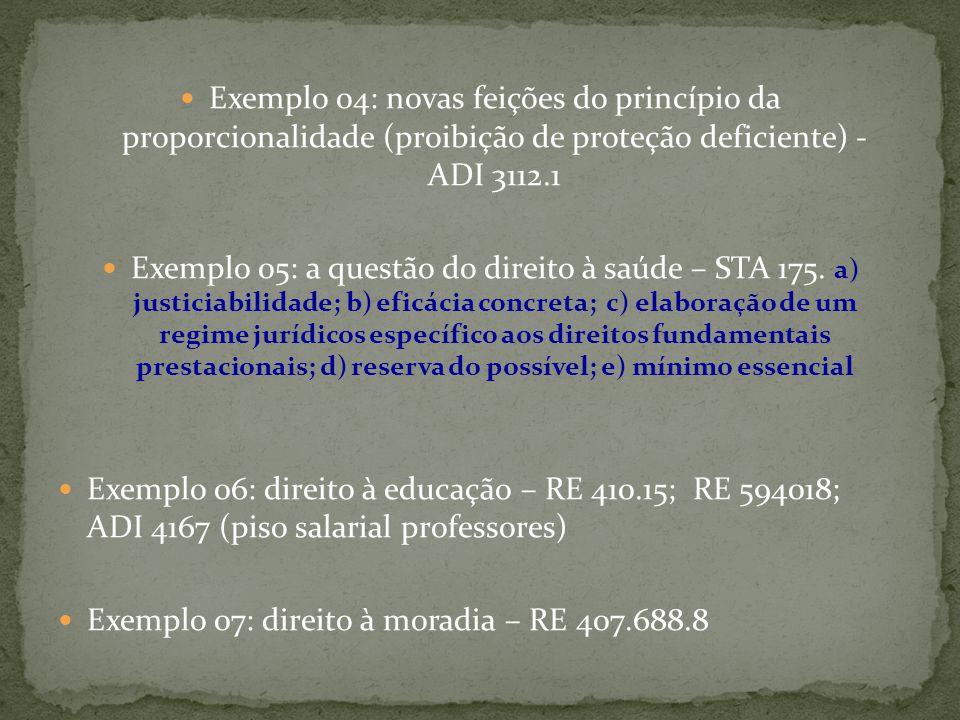 Exemplo 04: novas feições do princípio da proporcionalidade (proibição de proteção deficiente) - ADI 3112.1