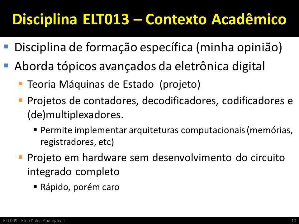 Disciplina ELT013 – Contexto Acadêmico