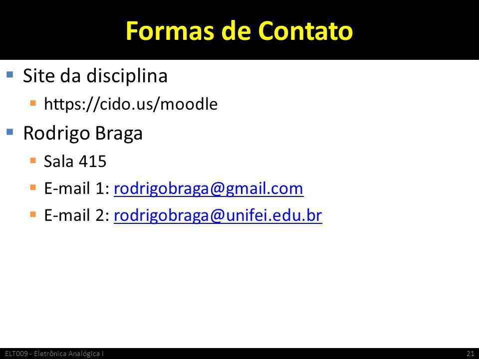 Formas de Contato Site da disciplina Rodrigo Braga