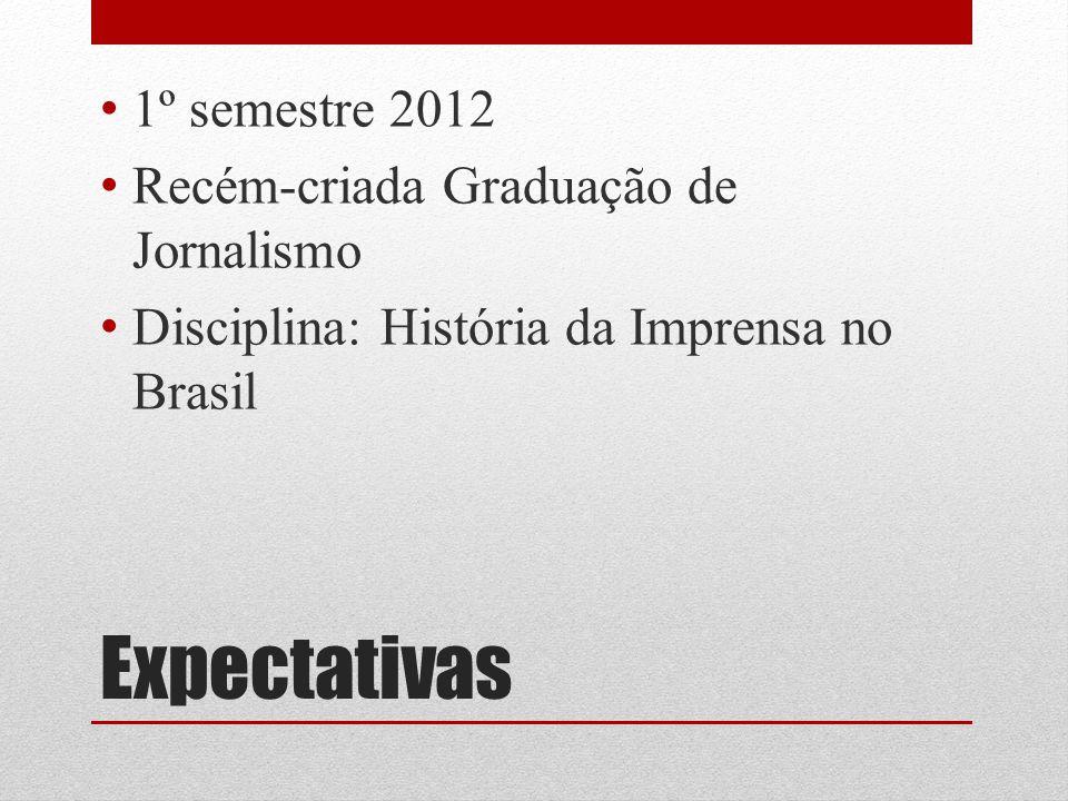 Expectativas 1º semestre 2012 Recém-criada Graduação de Jornalismo