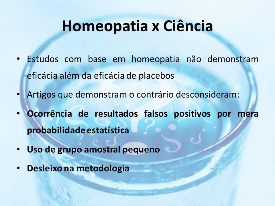 Homeopatia x Ciência Estudos com base em homeopatia não demonstram eficácia além da eficácia de placebos.