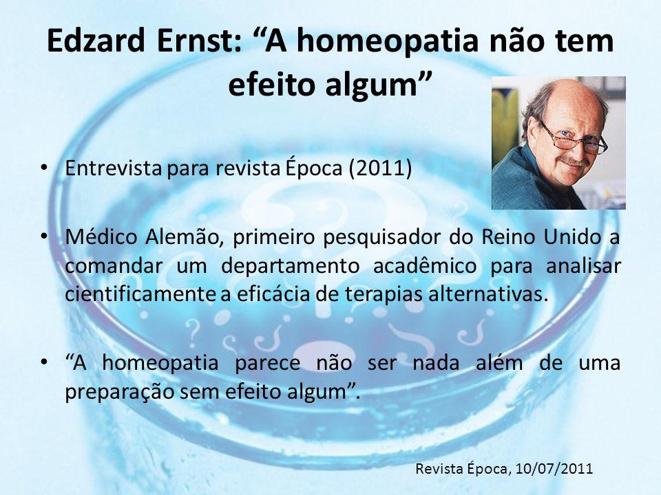 Edzard Ernst: A homeopatia não tem efeito algum