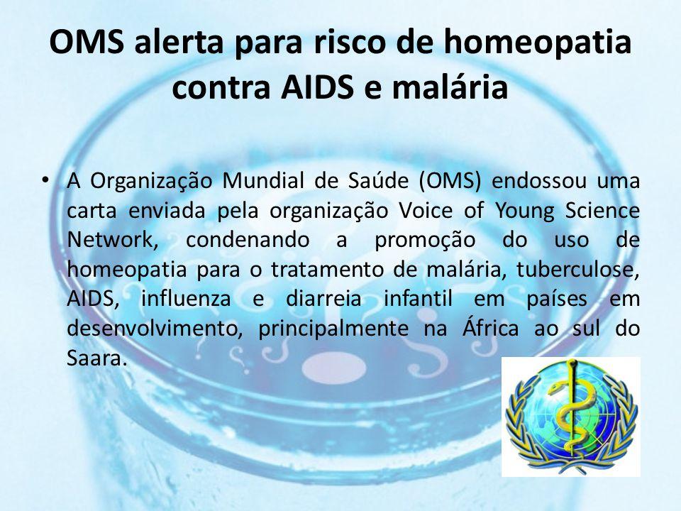 OMS alerta para risco de homeopatia contra AIDS e malária