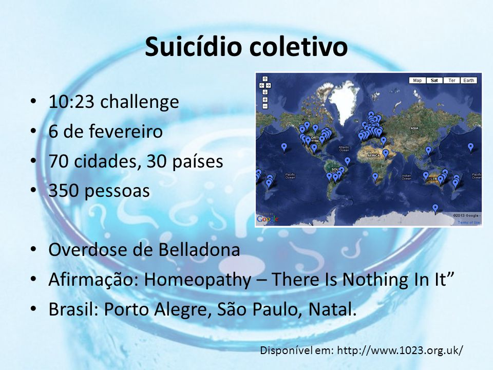 Suicídio coletivo 10:23 challenge 6 de fevereiro 70 cidades, 30 países