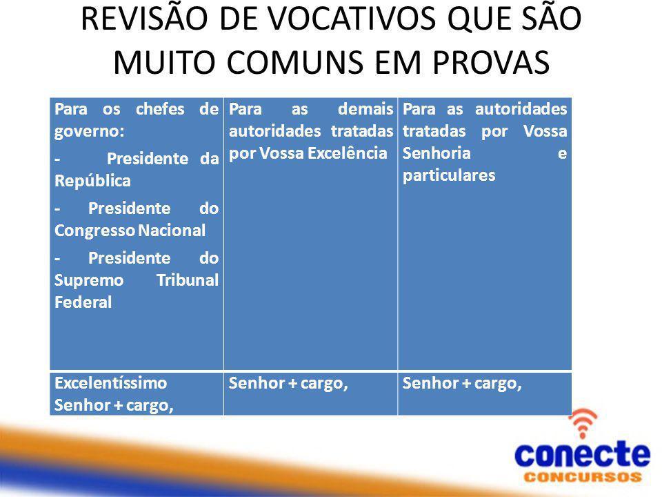 REVISÃO DE VOCATIVOS QUE SÃO MUITO COMUNS EM PROVAS