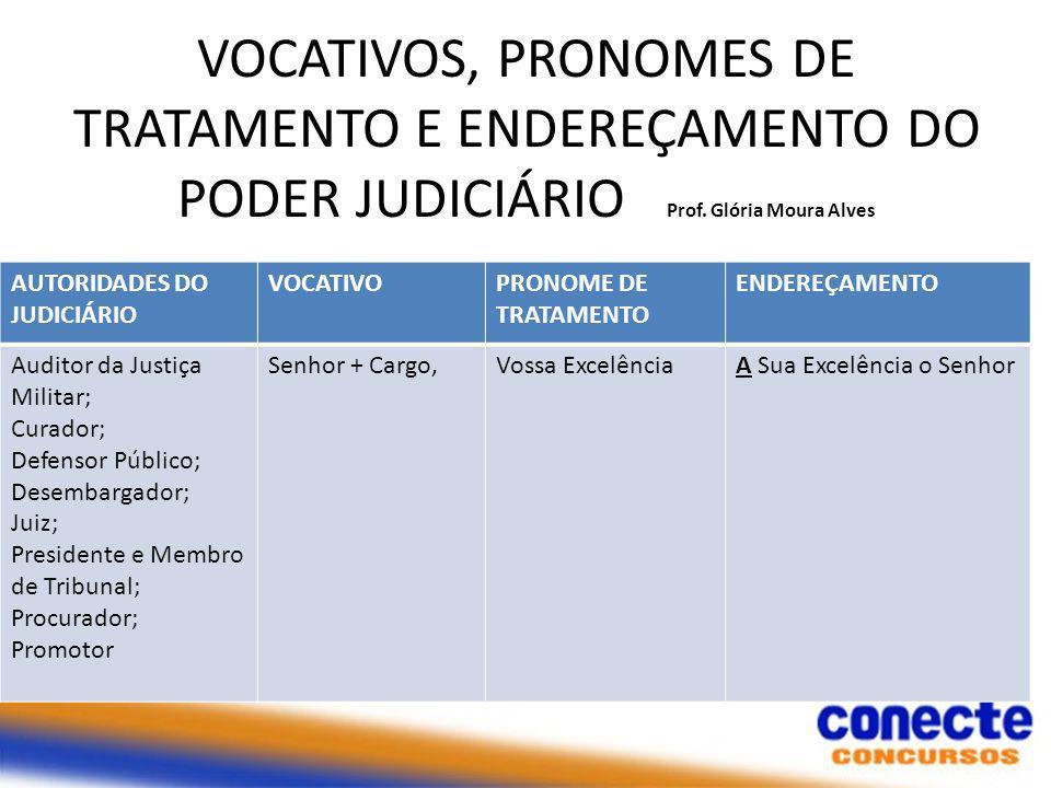VOCATIVOS, PRONOMES DE TRATAMENTO E ENDEREÇAMENTO DO PODER JUDICIÁRIO Prof. Glória Moura Alves