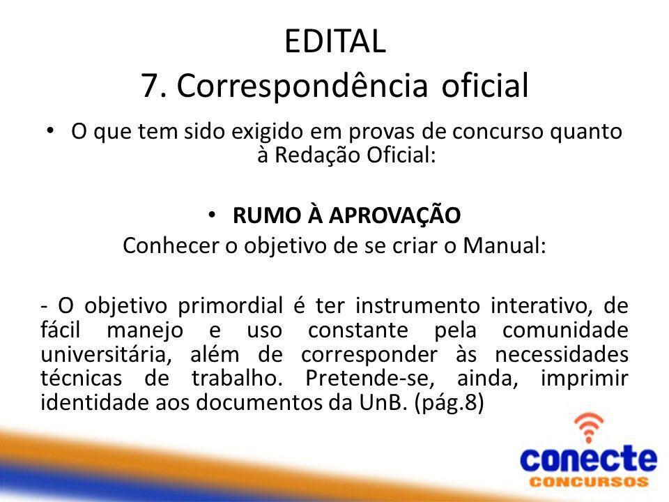 EDITAL 7. Correspondência oficial