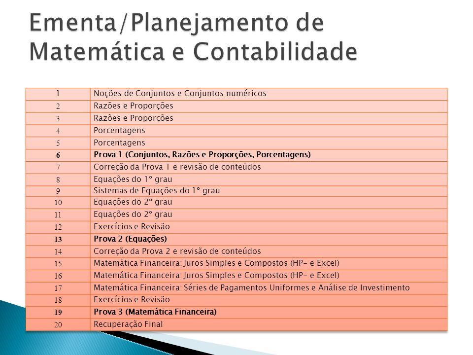 Ementa/Planejamento de Matemática e Contabilidade