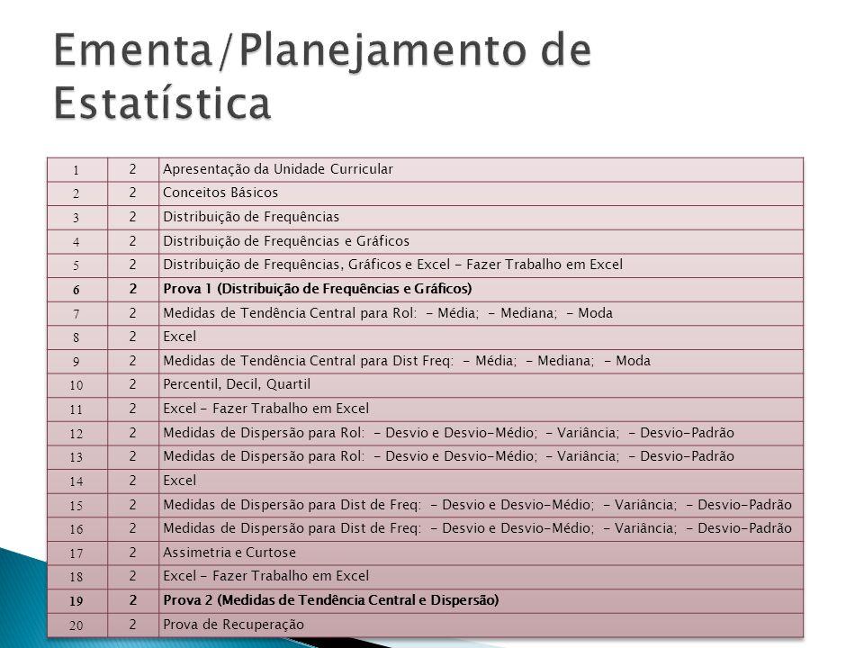 Ementa/Planejamento de Estatística