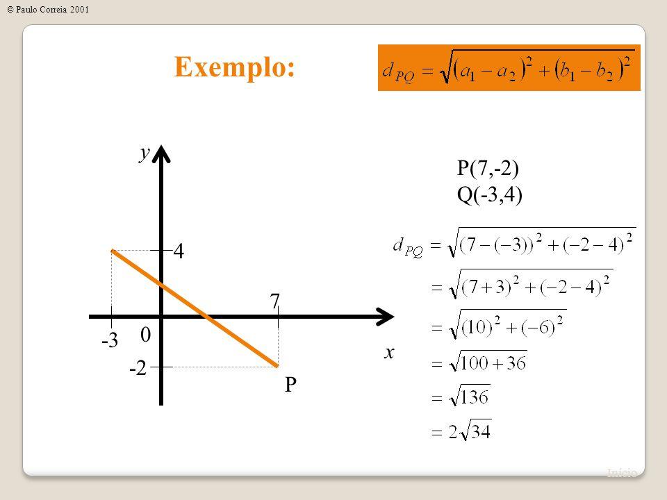 © Paulo Correia 2001 Exemplo: y P(7,-2) Q(-3,4) 4 7 -3 x -2 P Início