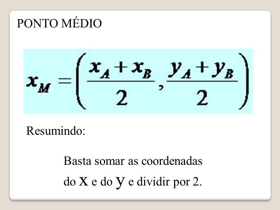 PONTO MÉDIO Resumindo: Basta somar as coordenadas do x e do y e dividir por 2.