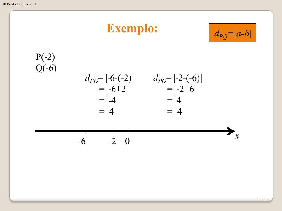 Exemplo: dPQ=|a-b| P(-2) Q(-6) dPQ= |-6-(-2)| = |-6+2| = |-4| = 4