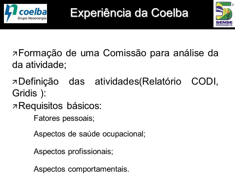 Experiência da Coelba Formação de uma Comissão para análise da da atividade; Definição das atividades(Relatório CODI, Gridis ):