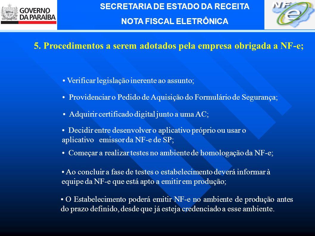 5. Procedimentos a serem adotados pela empresa obrigada a NF-e;