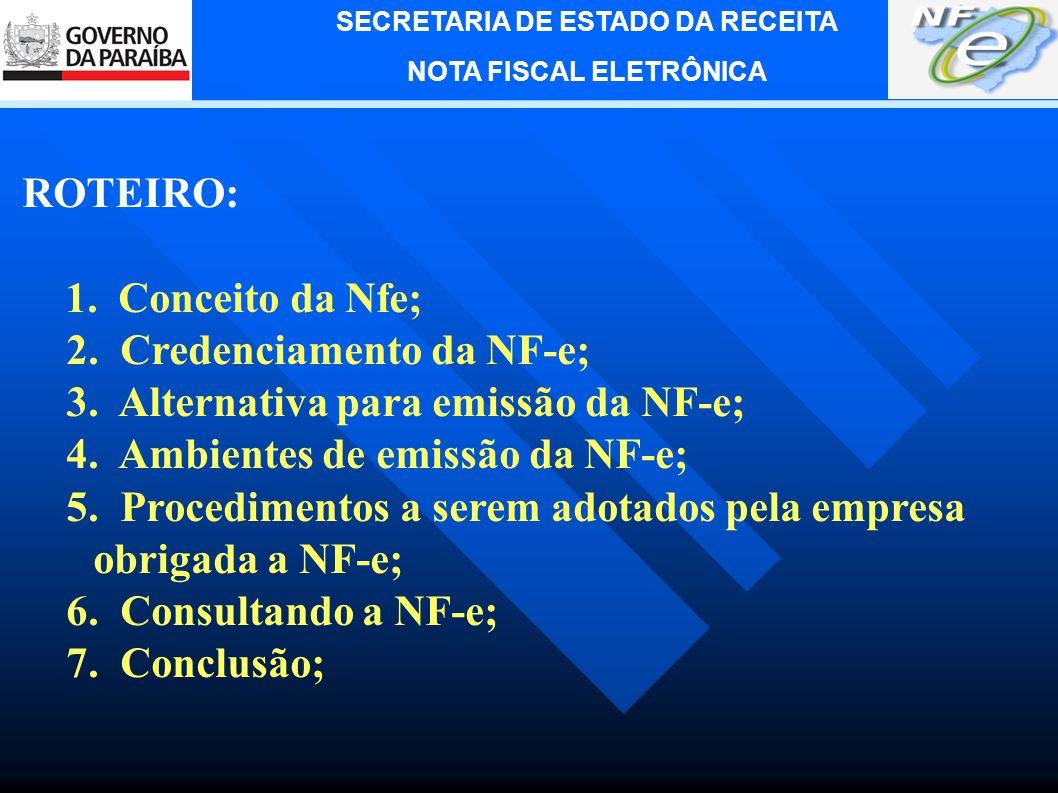 ROTEIRO: 1. Conceito da Nfe; 2. Credenciamento da NF-e; 3. Alternativa para emissão da NF-e; 4. Ambientes de emissão da NF-e;
