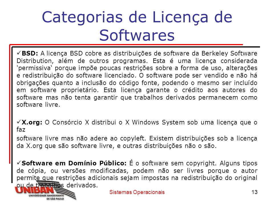Categorias de Licença de Softwares