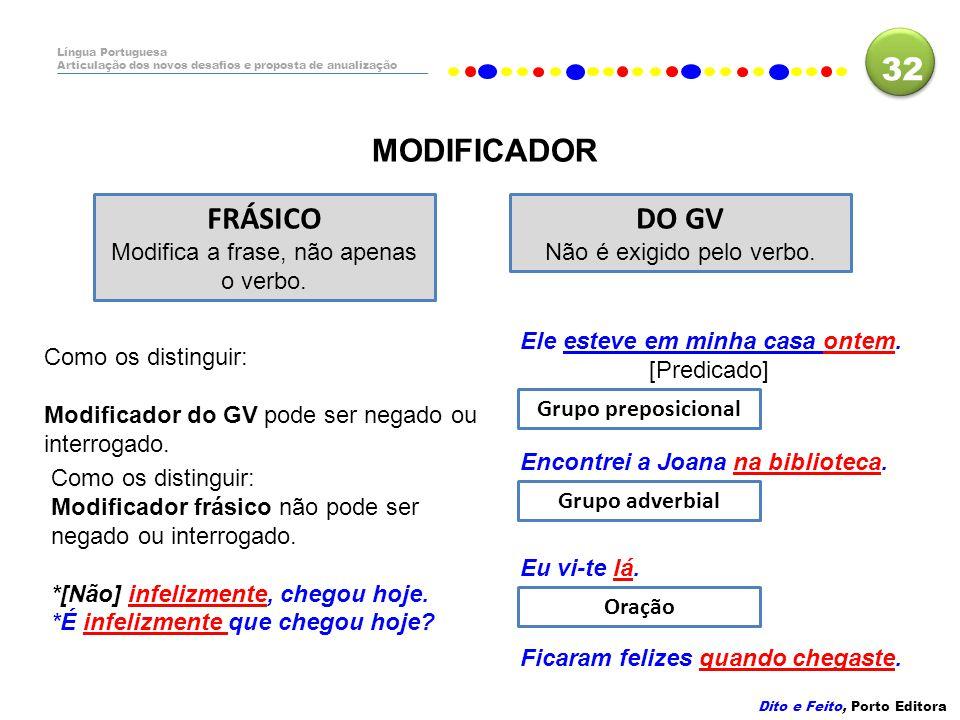 32 MODIFICADOR FRÁSICO DO GV Modifica a frase, não apenas o verbo.