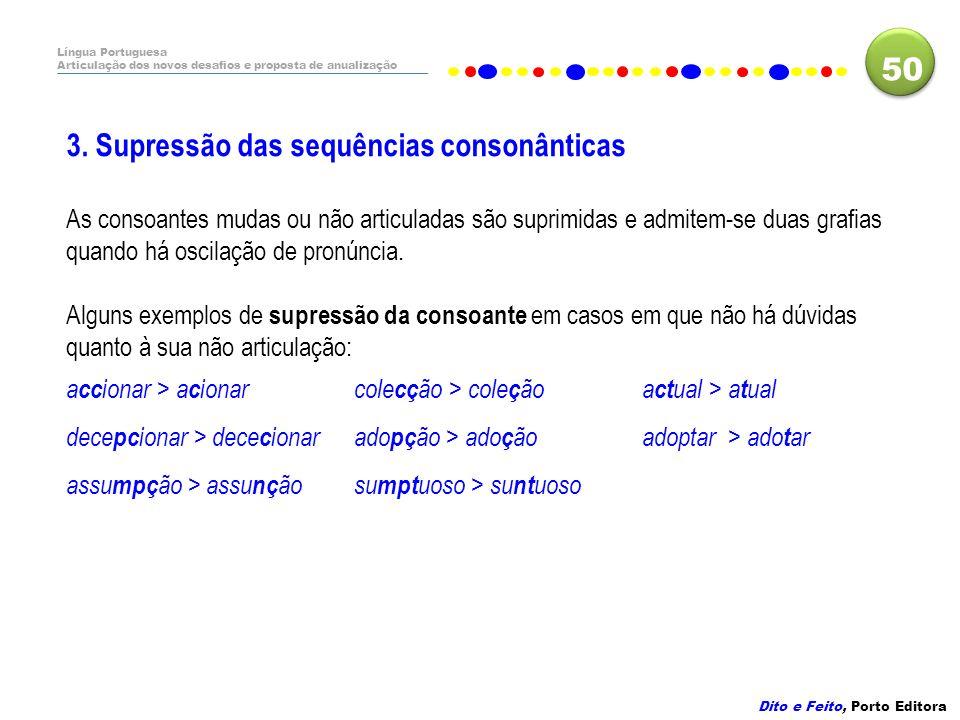 3. Supressão das sequências consonânticas