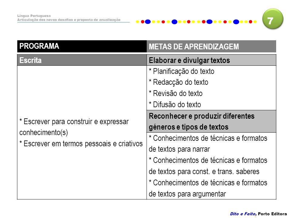 7 PROGRAMA METAS DE APRENDIZAGEM Escrita Elaborar e divulgar textos