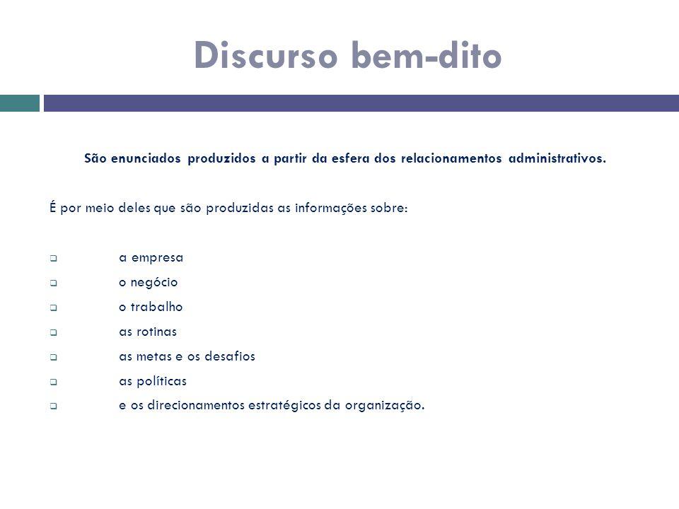 Discurso bem-dito São enunciados produzidos a partir da esfera dos relacionamentos administrativos.
