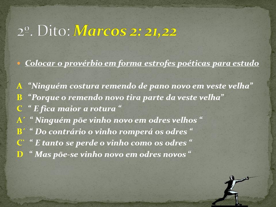 2º. Dito: Marcos 2: 21,22 Colocar o provérbio em forma estrofes poéticas para estudo. A Ninguém costura remendo de pano novo em veste velha