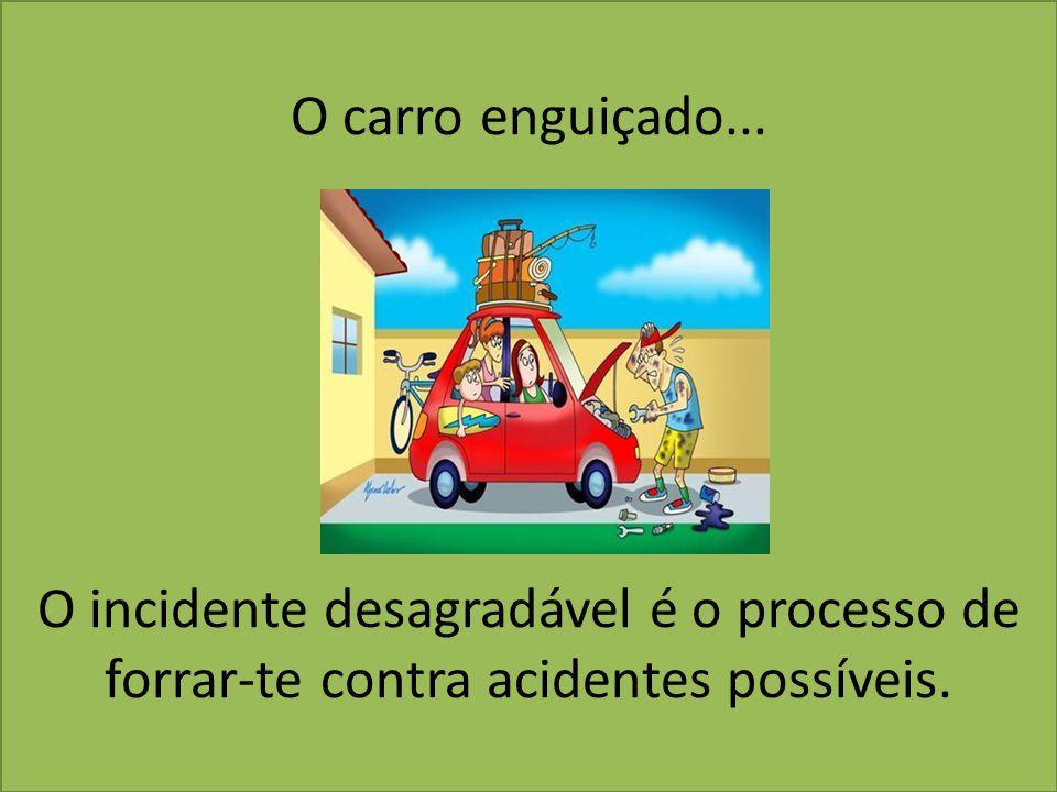 O carro enguiçado... O incidente desagradável é o processo de forrar-te contra acidentes possíveis.