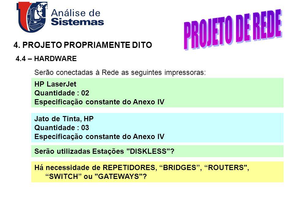PROJETO DE REDE 4. PROJETO PROPRIAMENTE DITO 4.4 – HARDWARE