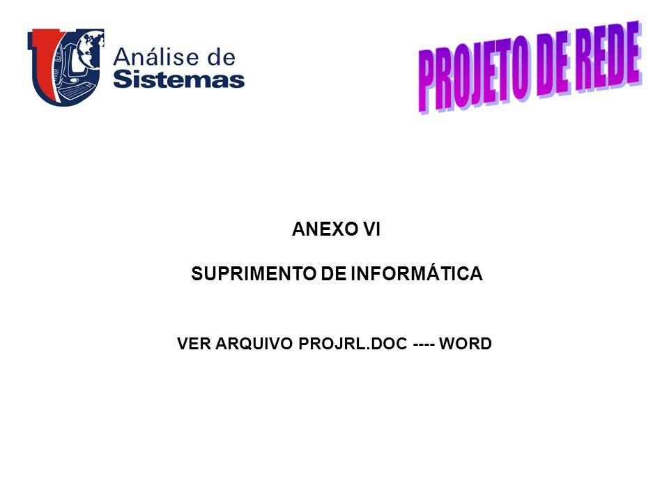 SUPRIMENTO DE INFORMÁTICA VER ARQUIVO PROJRL.DOC ---- WORD