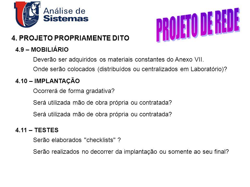 PROJETO DE REDE 4. PROJETO PROPRIAMENTE DITO 4.9 – MOBILIÁRIO