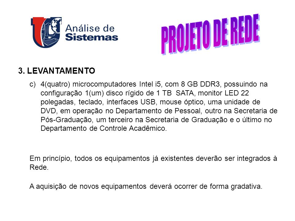 PROJETO DE REDE 3. LEVANTAMENTO