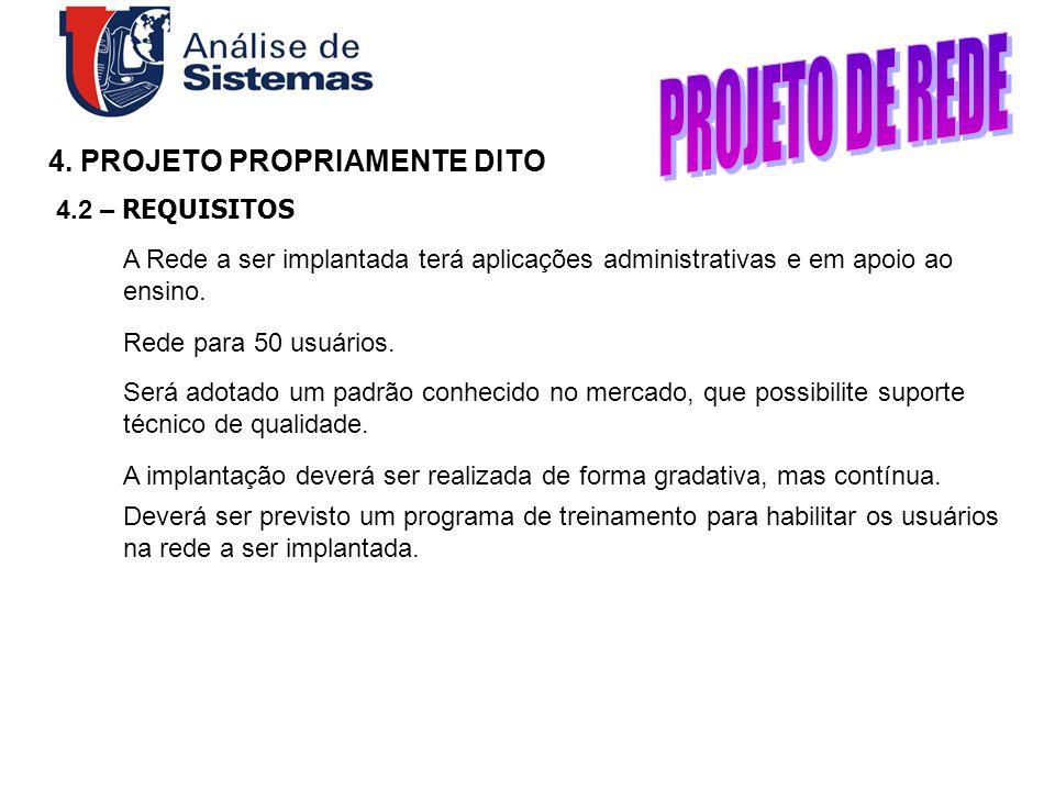 PROJETO DE REDE 4. PROJETO PROPRIAMENTE DITO 4.2 – REQUISITOS