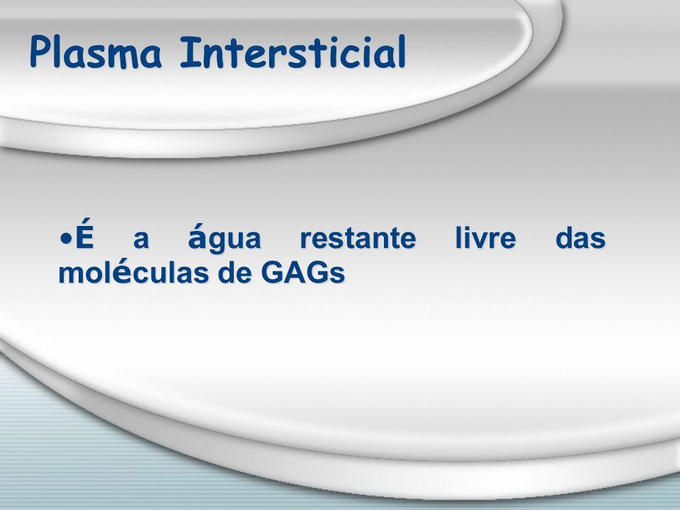 Plasma Intersticial É a água restante livre das moléculas de GAGs