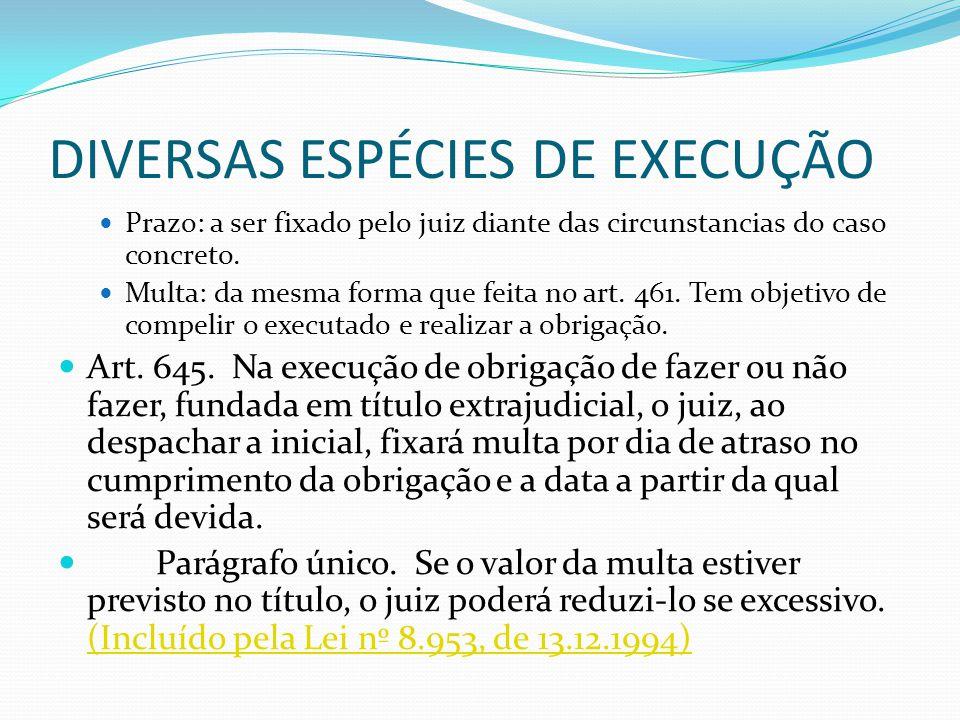 DIVERSAS ESPÉCIES DE EXECUÇÃO