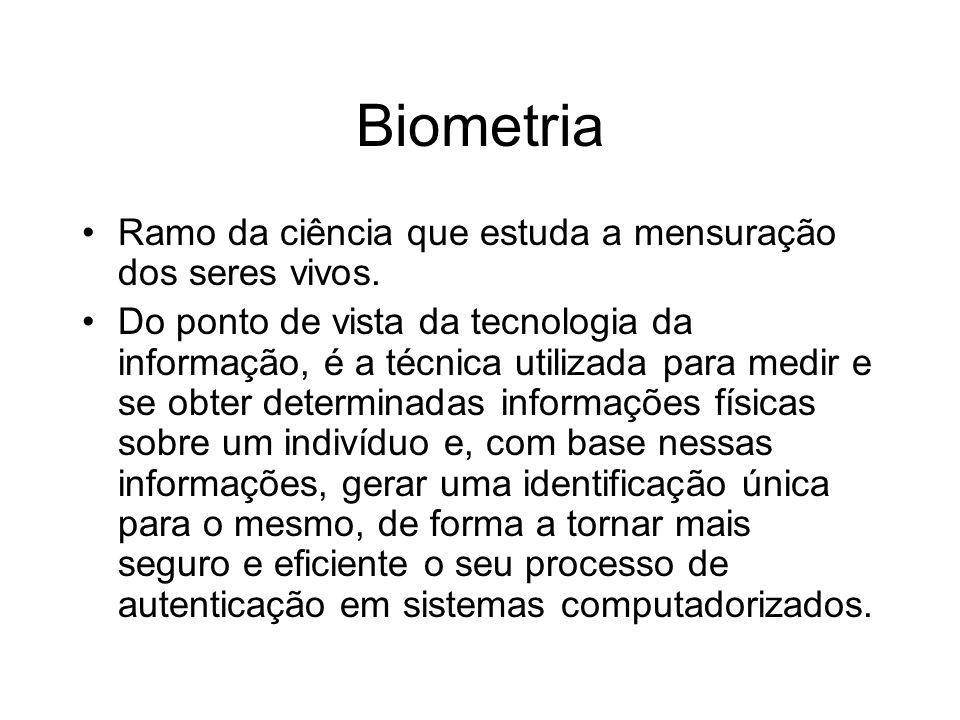 Biometria Ramo da ciência que estuda a mensuração dos seres vivos.