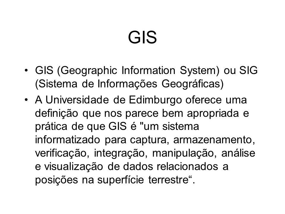 GIS GIS (Geographic Information System) ou SIG (Sistema de Informações Geográficas)
