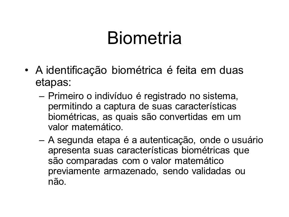 Biometria A identificação biométrica é feita em duas etapas:
