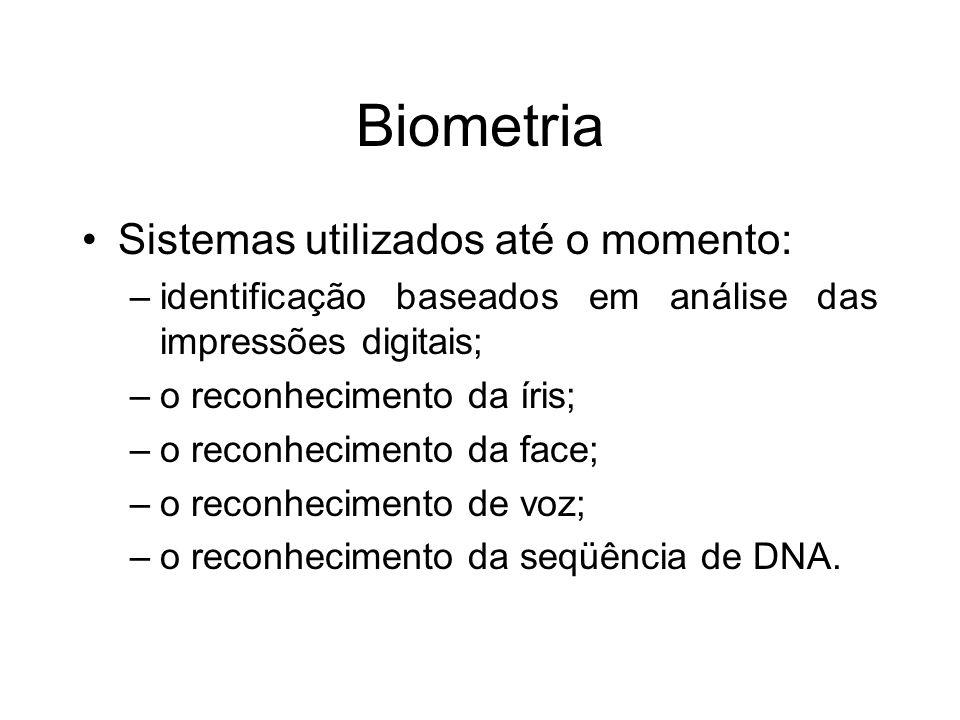 Biometria Sistemas utilizados até o momento:
