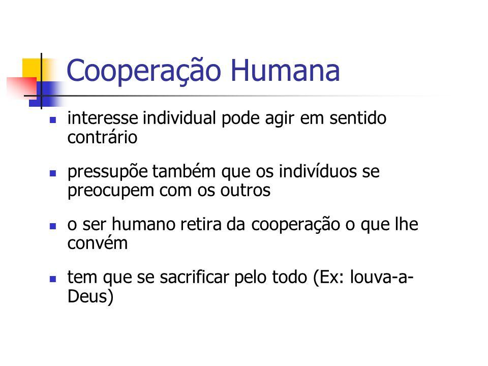 Cooperação Humana interesse individual pode agir em sentido contrário